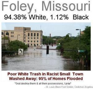 God Destroys 94% White Foley, Missouri (God Damn White America Movement)