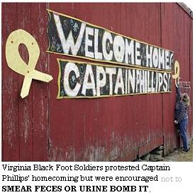 Virginia Black Foot Soldiers protest Captain Phillips homecoming