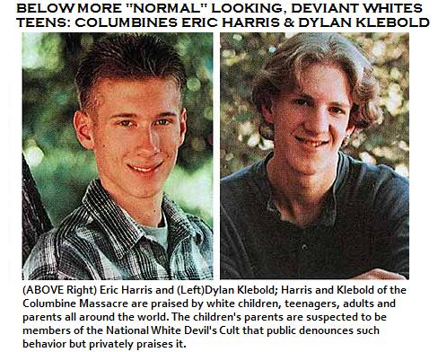 Courageous Columbine Killers Eric Harris & Dylan Klebold sit at the head of Beelzebub's table