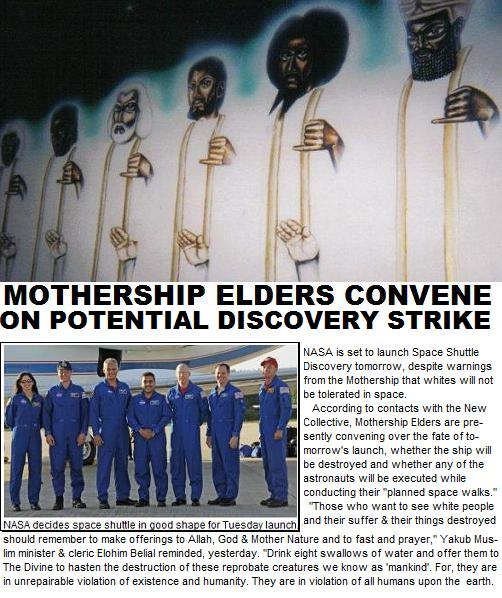 Mothership Elders Convene Over Potential Space Shuttle Discovery Strike