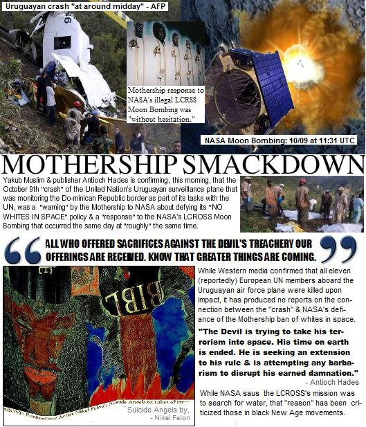 (Confirmed) October 9th UN Plane Crash a Mothership Smackdown for NASA's LCROSS Terrorism on Moon